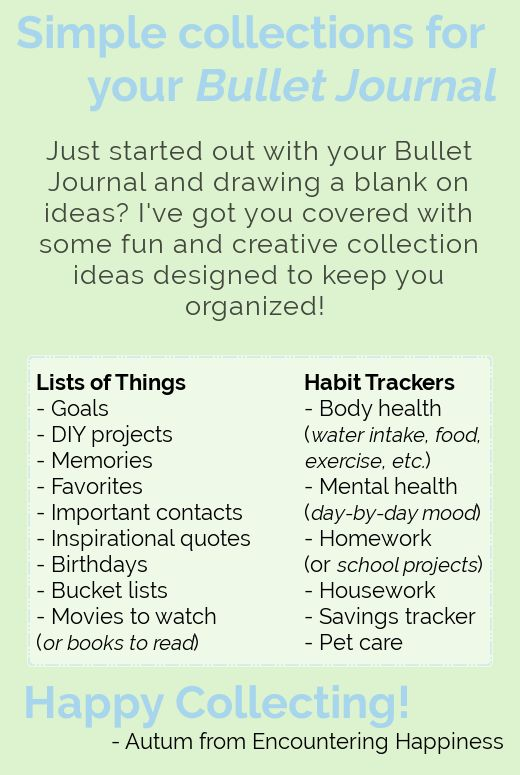 Bullet Journal Basics – Collections  Run out of ideas for collections/don't know where to start? I've got you covered! :)