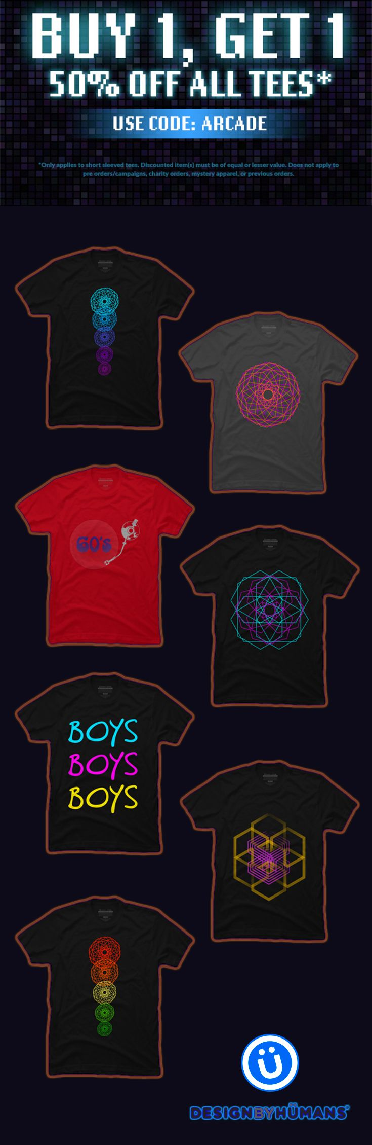 Buy 1 Get 1 50% OFF ALL T-Shirts by Scar Design.  Just use code : ARCADE.   #discount #sales #save #tshirts #fashion #style #family #art #shopping #online #desigbyhumans #skull #giftsforhim #giftsforher #onlineshopping #geometric #lgbt #music #1960 #modern #neon #space #scifi