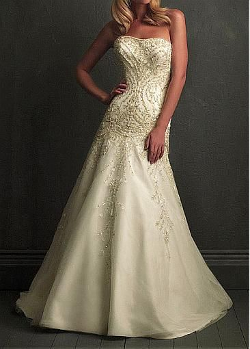 Image of Chic Organza & Satin A-line Strapless Neckline Wedding Dress With Embroidery and Beadings
