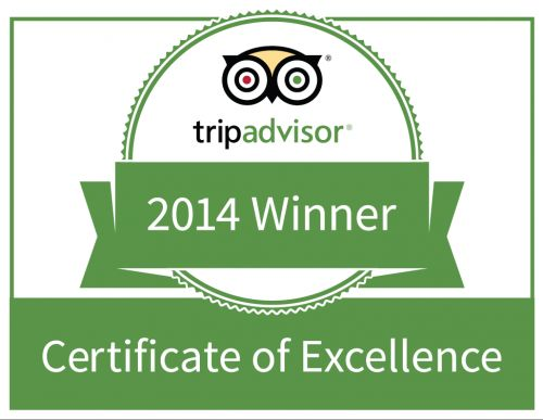 We were honored to win the TripAdvisor certificate of excellence for 2014!