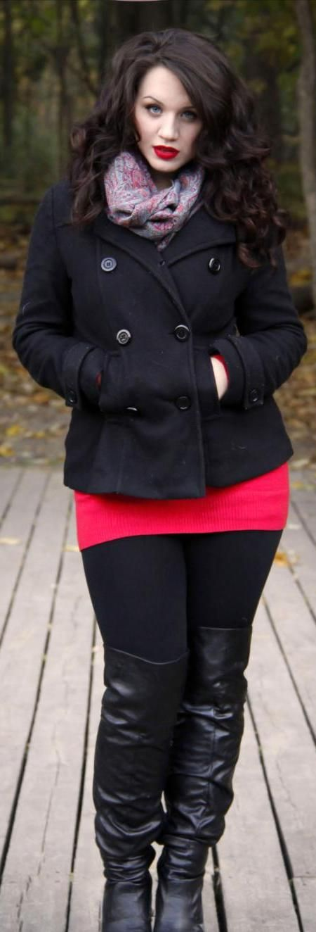Black + Red...plus size fashion