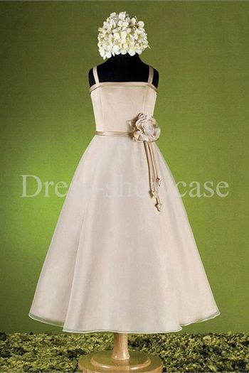 Satin Organza Ankle-Length A-Line Sleeveless New Arrival Girls Dresses #flowergirls #flowergirldress #cutedress #dress #beauty #cute #wedding #birthdaydress