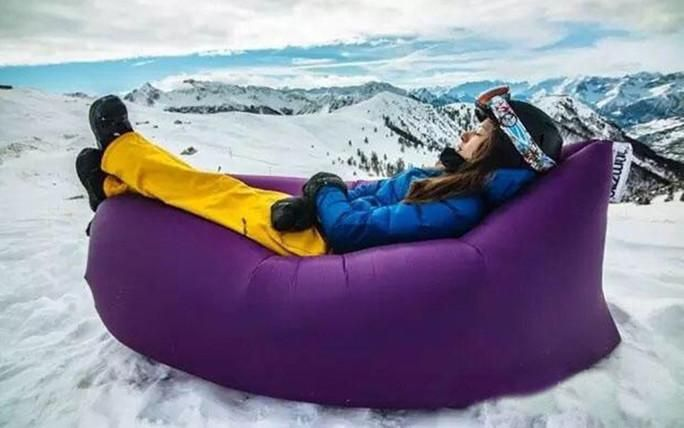 Purple / ChinaBeach Portable Outdoor Inflatable Bone Furniture Sofa Hammock Sleeping Camping Air Bed Nylon Lazy bed Clean Big