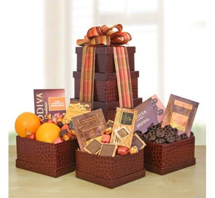 Fall Godiva   Fruit Tower 9569   9569 from Print EZ Scrumptious  juicy sinful and a celebrations of the    soon to come    holiday season  these chocolate and fruit gift baskets contain the best combinations of health and indulgence