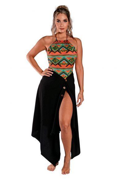610171bf5 Saia Canga Botão Viscose Preta | Pareo/Sarong em 2019 | Fashion, Summer  dresses e Beach
