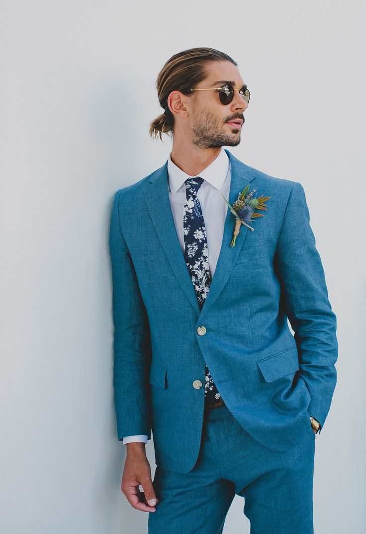 GWS x Neck and Tie Co. Collection // floral tie and floral bowtie for the modern + hipster groom // groom in blue suit // fashionable + stylish groom and groomsmen // groom with man bun