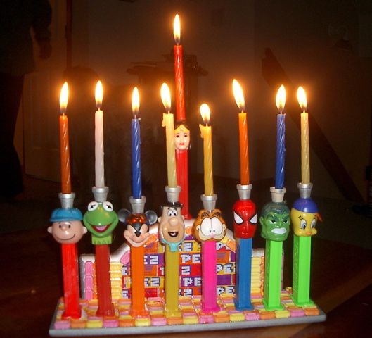 Use Pez dispensers: | 27 Awesome And Unexpected Menorahs