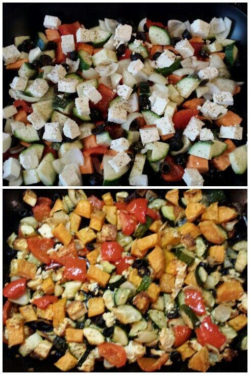 Heerlijke ovenschotel: zoete aardappel - rode paprika - ui - courgette - feta - zwarte olijven - knoflook - peper - oregano (optioneel) Oven op 175° C. Snij de aardappel, courgette, paprika en ui in stukken. Snij de knoflook fijn en halveer eolijven. Snij de feta in blokjes. Doe alle ingrediënten in een ovenschaal. Doe er naar smaak peper en oregano overheen. Sprenkel er olijfolie overheen. Zet 45 minuten in de oven. Roer halverwege de inhoud nog even door elkaar. Eet smakelijk!