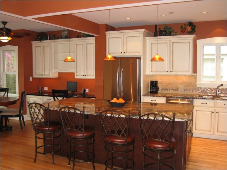 Traditional Kitchen By Steve Bailey   Amish Custom Kitchens Pumpkin Orange  Paint On Walls U0026 White Cabinets