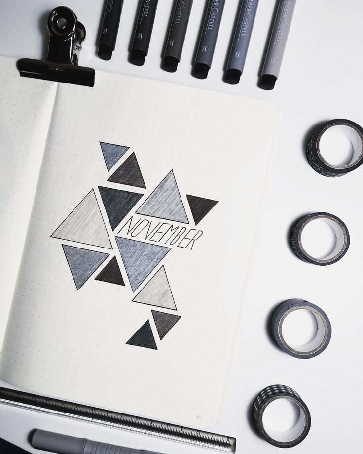 Bullet journal monthly cover page, November cover page, geometric drawings. @bullet_journal_ish