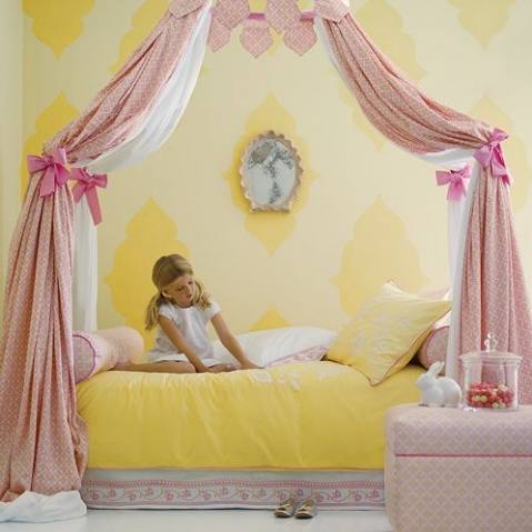 pink and yellow bedroom @Serena &  Lily