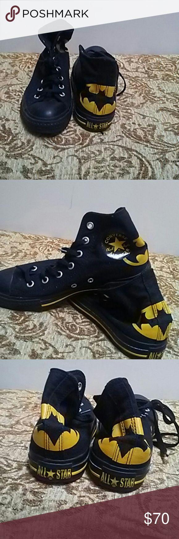 EUC custom batman hightop converse mens 6 EUC custim batman chucks mens 6 womens 8-8.5 Converse Shoes Sneakers