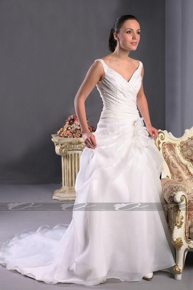 V-neck A-line organza wedding dress