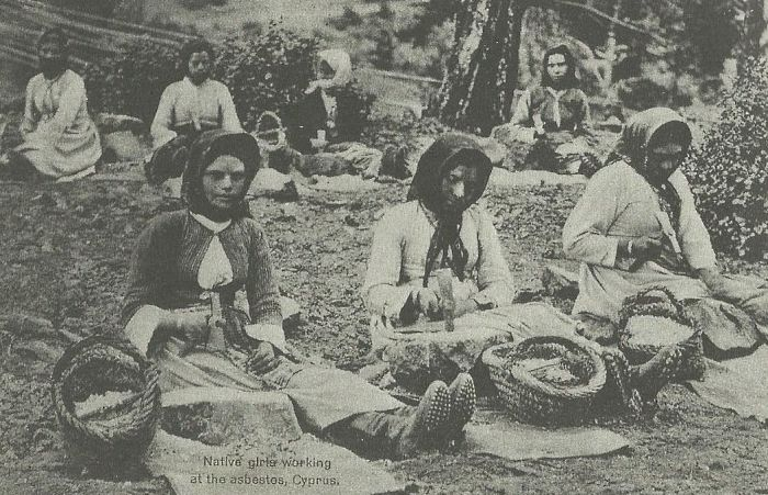 Cypriot girls working at the asbestos mines,19th cent.
