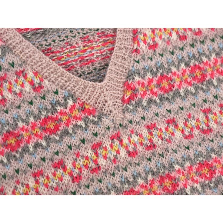 Priestley's Vintage  Fairisle Tank Pink Knit