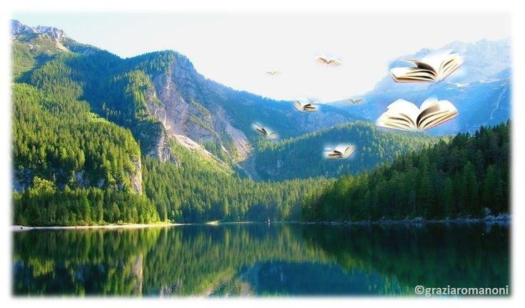 """Foto del lago di Tovel (Trentino Alto Adige) scattata da me... Mio anche il fotomontaggio dei """"libri volanti""""!"""