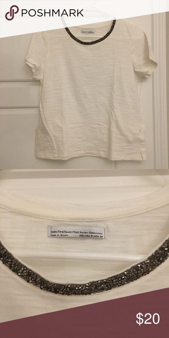Zara Cream t shirt embroidered - Size M Zara Cream t shirt embroidered - Size M Zara Tops