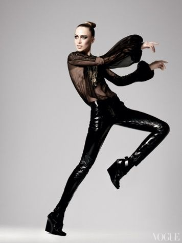 Raquel Zimmermann in a silk-mousseline-and-leather look from the fall 2008 collection.  Photographed by David Sims
