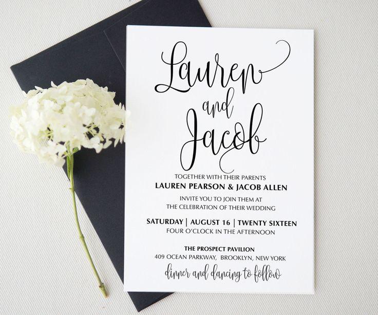 Wedding invitation template . Printable by Invitationstemplates
