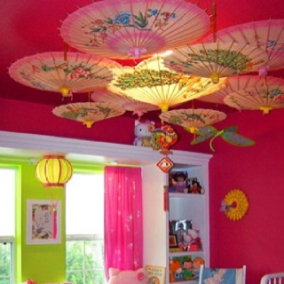 Clever way to disguise a rental light fixture and add interest on the ceiling.
