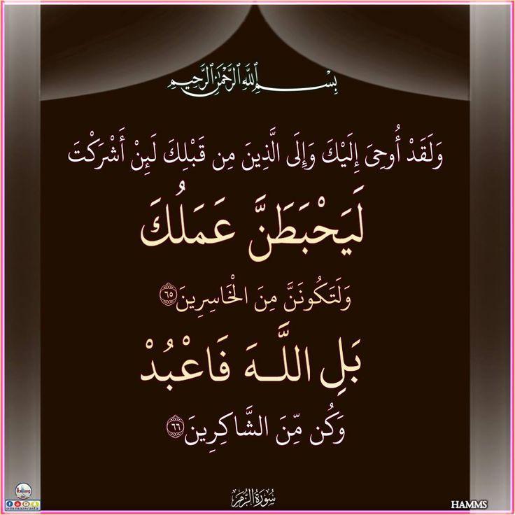 الزمر ٦٥ ٦٦ Calligraphy Arabic Calligraphy Arabic