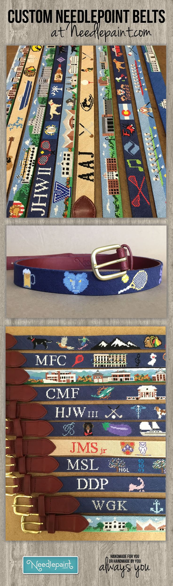 Here are some pictures of ‪Custom Needlepoint Belts‬ from our workshop taken over the holiday season.   We'd love to help you design the belt of your dreams or make an amazing gift that be talked about where ever it is worn.  www.NeedlePaint.com  #NeedlepointBelts