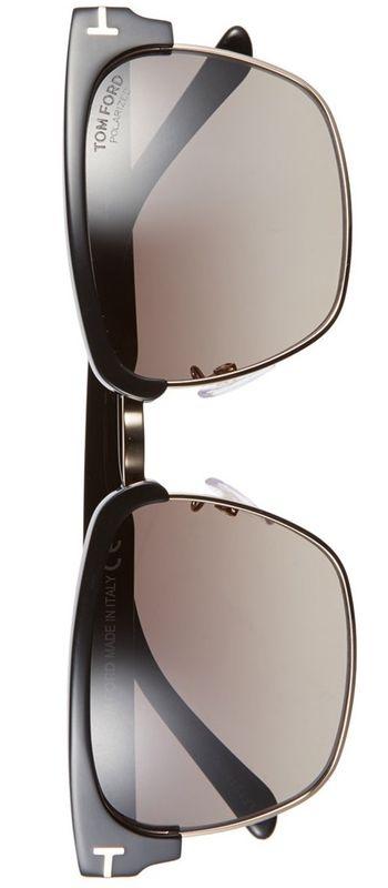 Tom Ford 'River' 57mm Polarized Sunglasses Shiny Black/Gold/Smoke