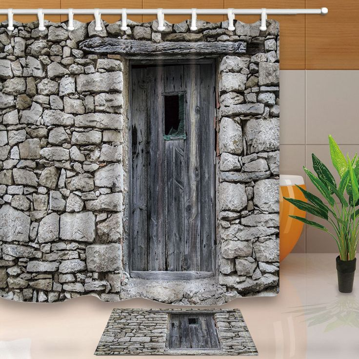 Building Fabric Shower Curtain Set Old Stone Door Bathroom Curtain 71Inch