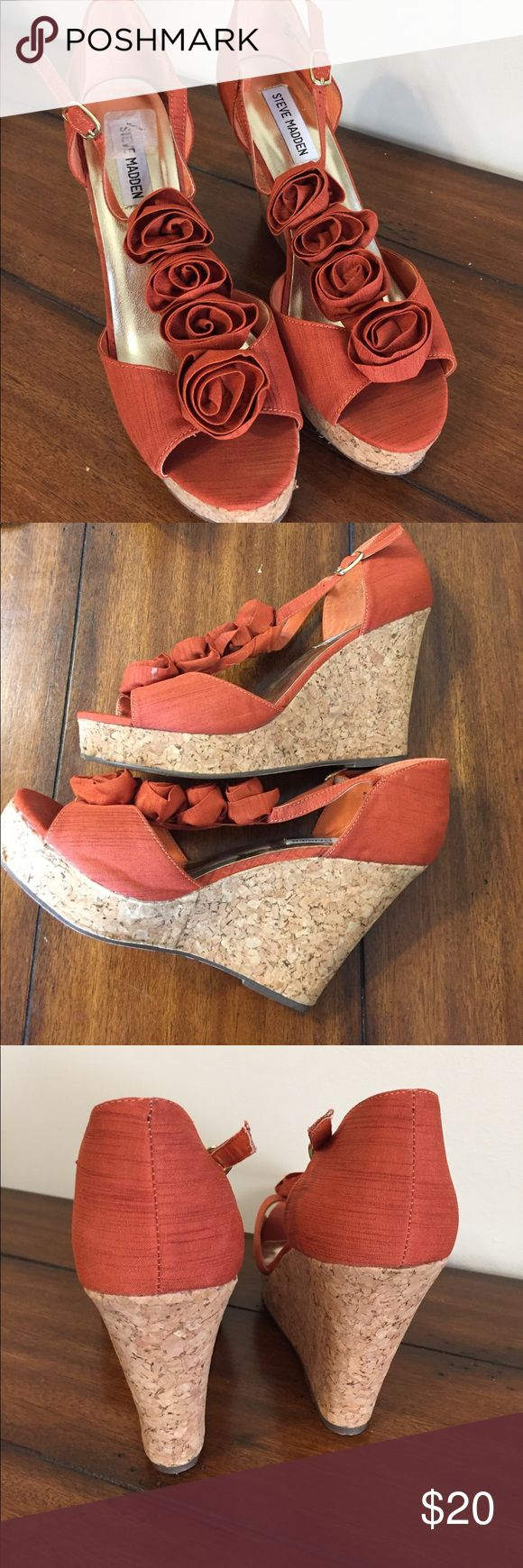 """Steve Madden Cork Wedge Sandals p-ven floral Size 8.5. Upper in excellent condition. Floral fabric design in front. 1"""" front wedge height. Smoke free home. Orange fabric. 4.25"""" heel, Steve Madden Shoes Wedges"""