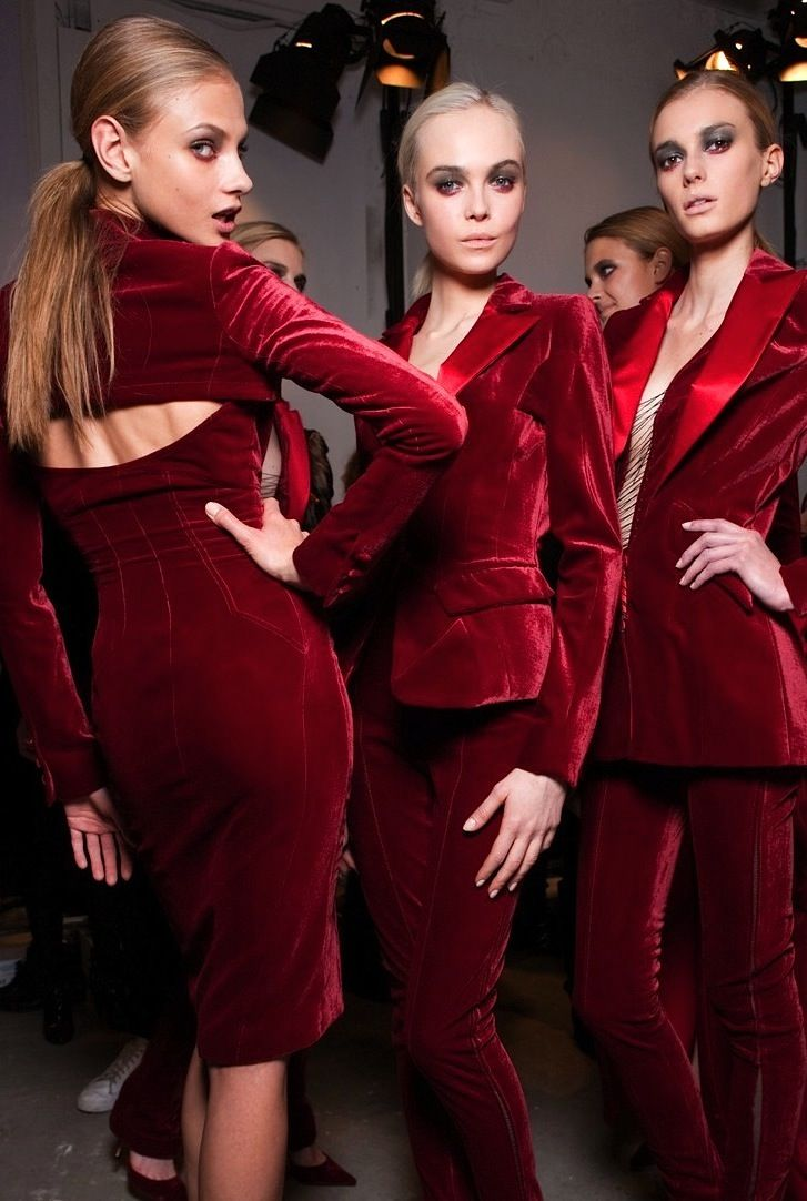 Anna Selezneva, Siri Tollerod and Sigrid Agren at Altuzarra F/W 2010/11.: Altuzarra Fw, Ruby Red, Velvet Fashion, Siri Tollerod, Sensual Velvet, Sigrid Agren, Red Velvet, Fw 10, Give Selezneva