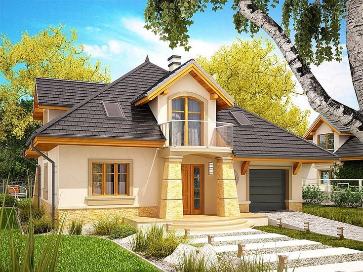 The New, More Modern Version Of The Popular Home Design Rosa. Building  Basement Storey With Garage.On The Ground Floor Next.