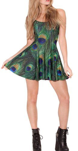 Pulcher Summer Pleated Knee-length Peacock pattern Reversible Skater  - Click image twice for more info - See a larger selection of junior dresses at - http://girlsdressgallery.com/product-category/teen-dresses/ - juniors, womens, teens, teenager, dresses, girls, ladies, girls fashion