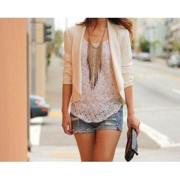 Lace top, cropped peach jacket, faded shorts, long necklace.