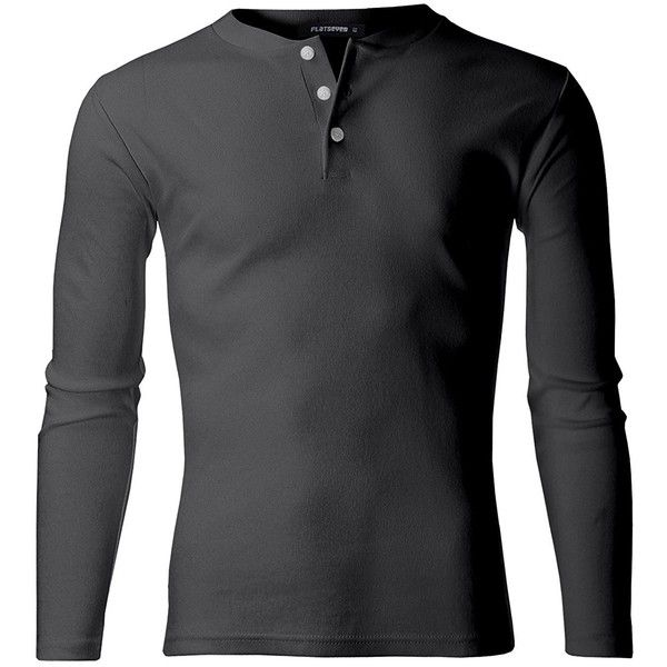 FLATSEVEN Men's Casual Henley Shirt with Button ($20) ❤ liked on Polyvore featuring men's fashion, men's clothing, men's shirts, men's casual shirts, mens button shirts, mens casual button down shirts and mens henley shirts