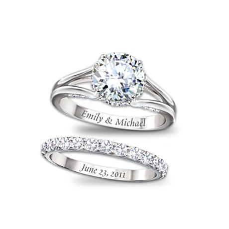 Names on engagement ring, date on wedding band.