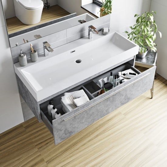Mode Morris Dark Concrete Grey Wall Hung Vanity Unit And Basin 1200mm Wall Hung Vanity Vanity Units Grey Walls