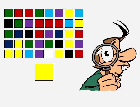 Zoek de vlakjes met dezelfde kleur.  Maximaal 10 vakjes die aangeklikt moeten worden.  Na elk juist antwoord wordt feedback gegeven.  Is een veld met de juiste kleur weggeklikt, dan word je beloond met een lachebekje onderaan het scherm.  Na tien velden kun je opnieuw beginnen.
