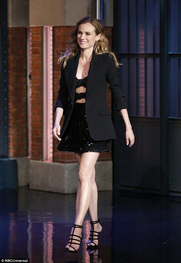 Showing it off! Diane went for another short and sweet ensemble during an appearance on La...