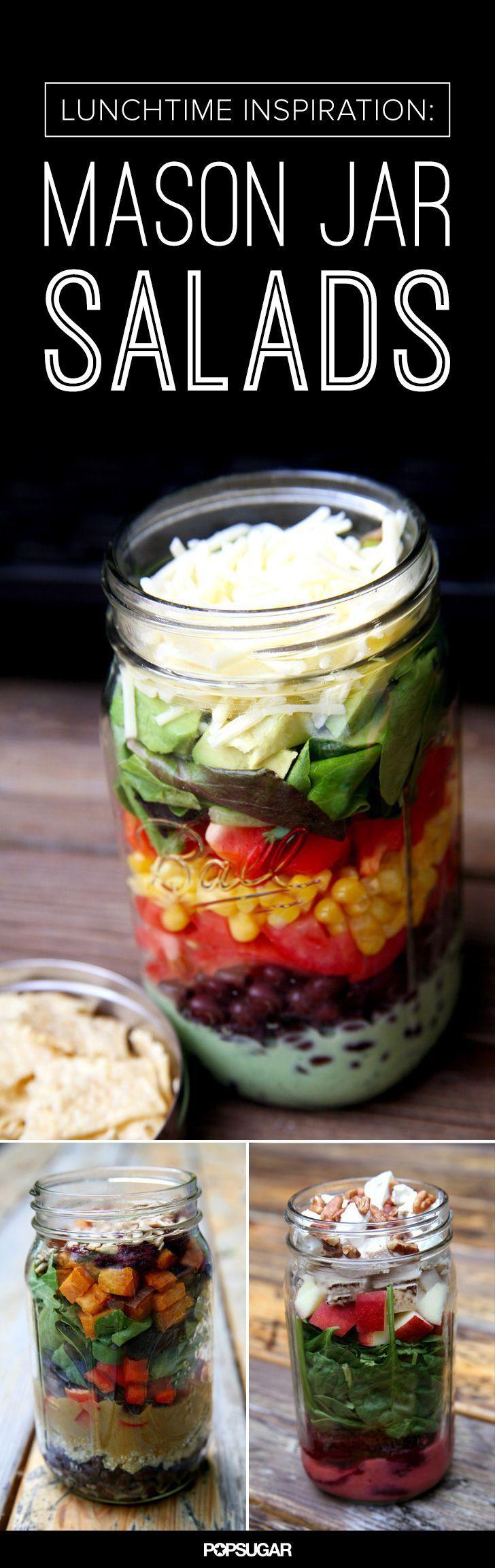 Inspiration for mason jar salads. Love adding quinoa and roasted veggies.