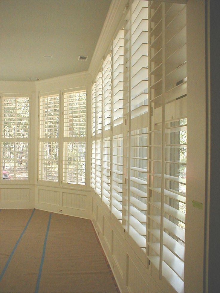 Plantation shutters maintain privacy, let in light and lend visual interest/texture