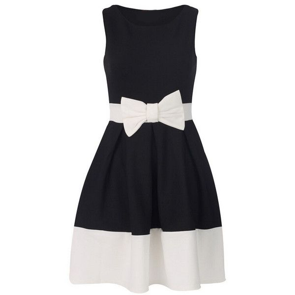 Color-block With Bow Flare Dress ($13) ❤ liked on Polyvore featuring dresses, black, bow dress, color block dress, short flare dress, black sleeveless dress and flared sleeve dress