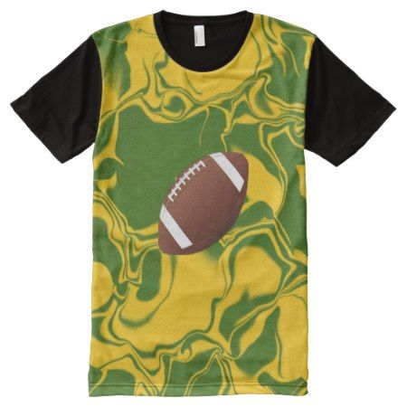 Football Green and Gold All-Over-Print Shirt - tap, personalize, buy right now!