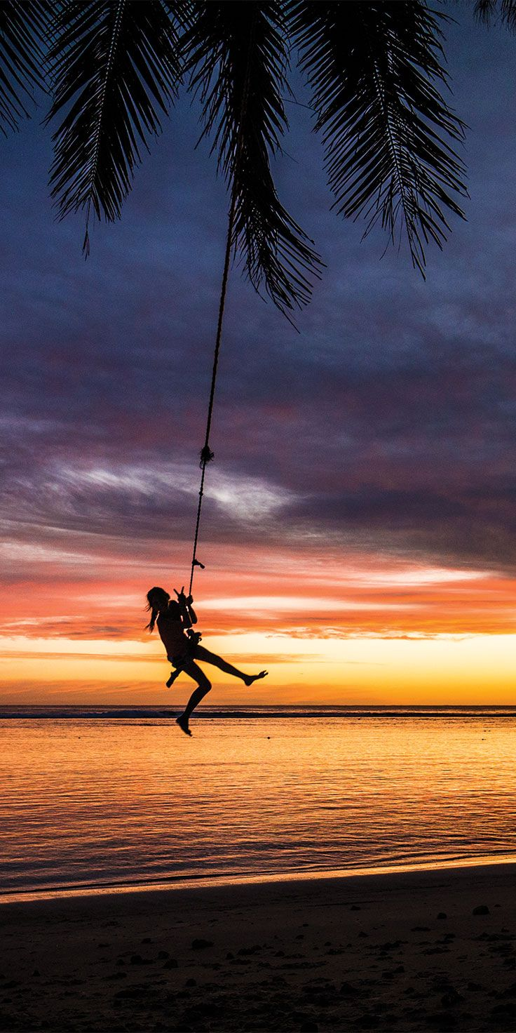 Swinging from coconut trees at sunset on Rarotonga, Cook Islands - by Sean Scott