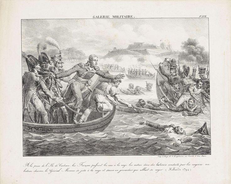 Hippolyte Lecomte   Generaal Moreau redt een grenadier uit het water, 1794, Hippolyte Lecomte, Gottfried Engelmann, 1817 - 1819   Heldhaftigheid van de Franse generaal Moreau die tijdens de gevechten rond Sluis en het Land van Cadzand een grenadier uit het water redt, 23 juli 1794.