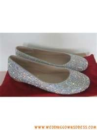Cute Artifical Diamond Flat Bridal Shoes Online