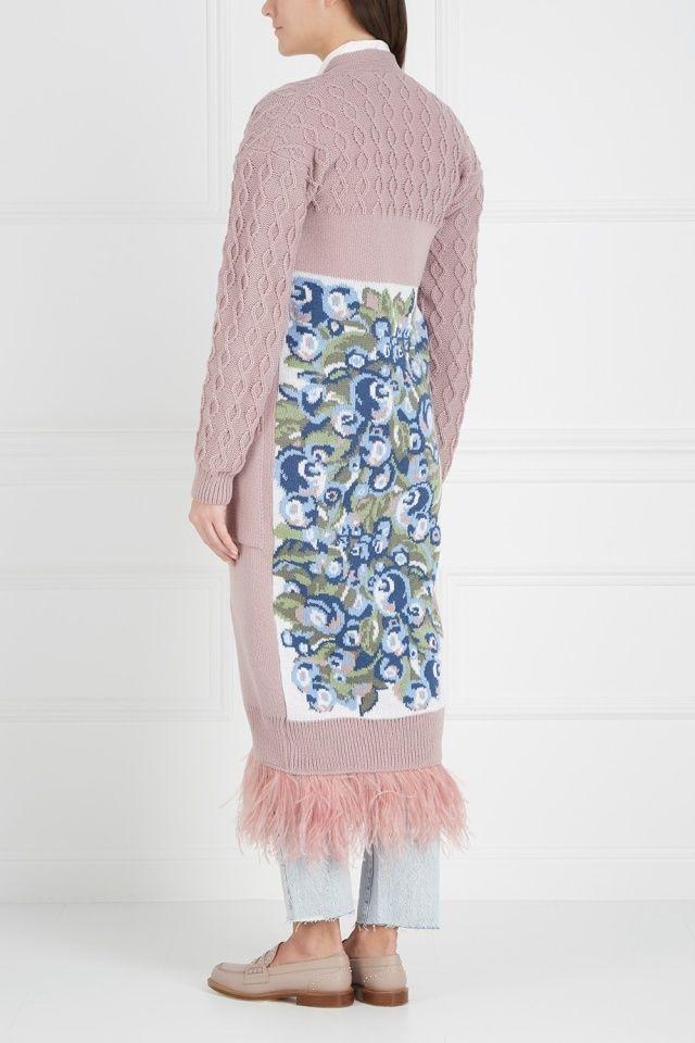 Кардиган из шерсти мериноса и ангоры Blueberry 7КА - Уютный длинный кардиган с поясом на линии талии в интернет-магазине модной дизайнерской и брендовой одежды