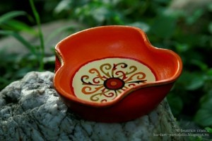 creative energy sun mandala little plate - hand painted clay pots