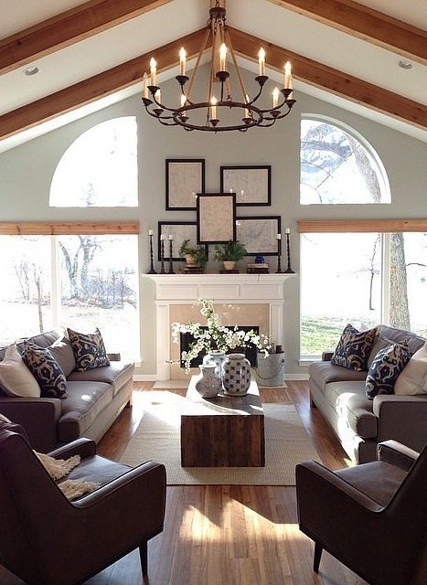 17 best ideas about vaulted ceiling decor on pinterest for Fixer upper living room designs