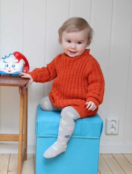 Troublemaker sweater - 1-12 y    Article number: MON068d  This sweater is influenced by the character Lotta (from Astrid Lindgren). It´s knitted with a stitch that makes it really stretchy, and will fit for quite some time. The girls´ version is bit longer than the boys´.    $8 knitting pattern
