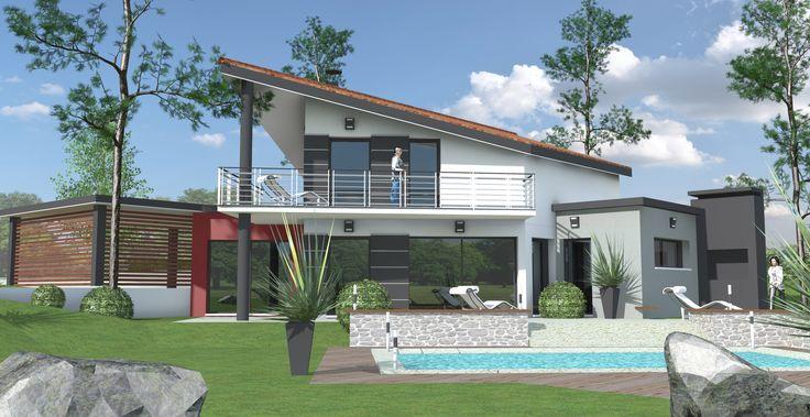 Nouveau projet 🏡 #Maison contemporaine à étage qui mêle la toiture traditionnelle 2 pans ...